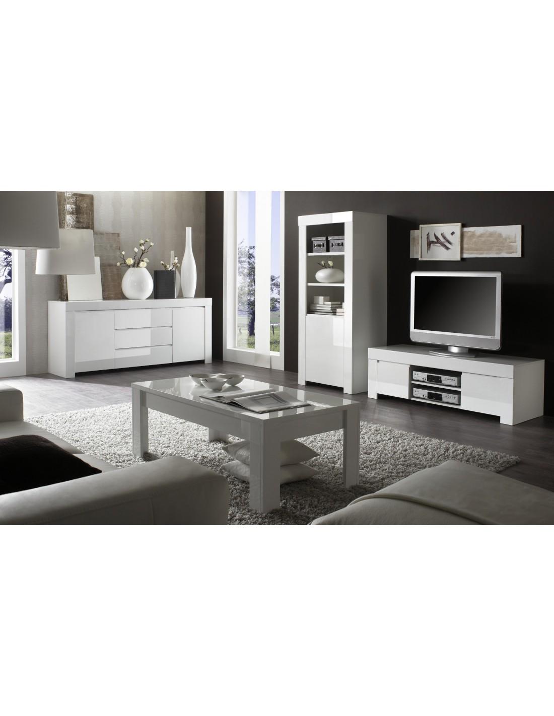 Meuble Tv Laque Blanc Amalfi