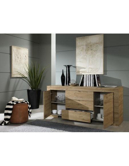 Buffet  portes tiroirs coloris chne Miele Milano