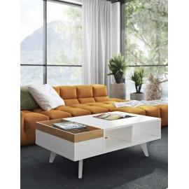 Table basse Plato laque blanc et chêne