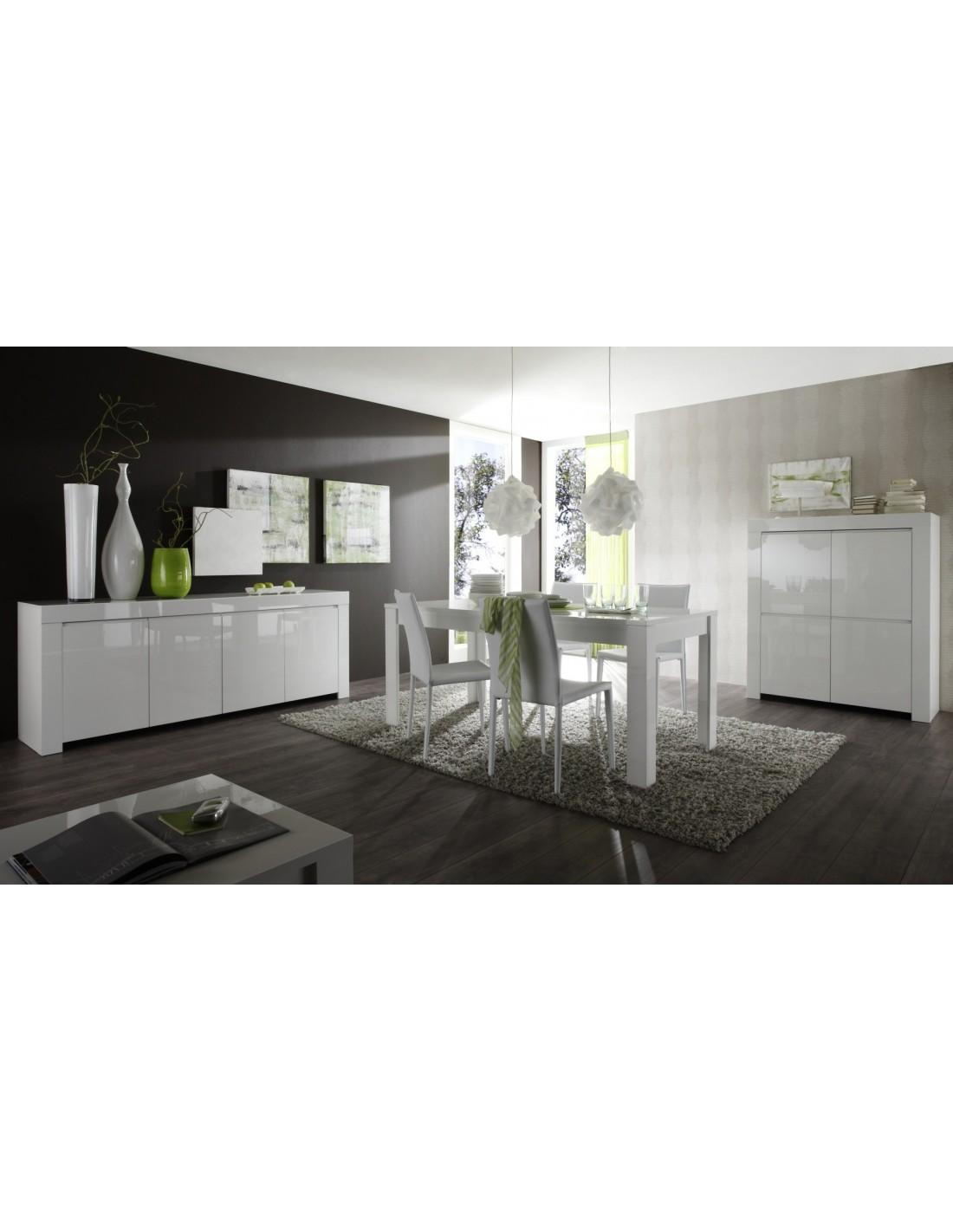 Meuble 4 portes Laqué Blanc Brillant - Amalfi - My Mobili