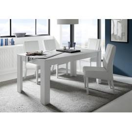 Table de repas avec allonge  laqué blanc mat SKY