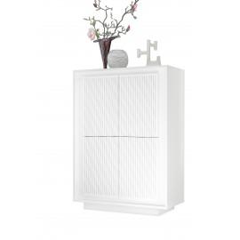Meuble de rangement 4 portes SKY structure en laqué  Blanc mat facade sérigraphiée