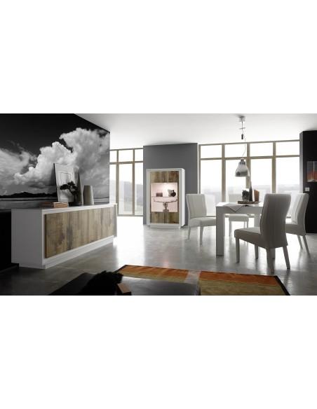 Buffet 4 portes SKY structure laqué  blanc mat facade bois naturel