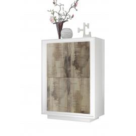 Meuble de rangement 4 portes SKY structure en laqué  Blanc mat facade bois naturel