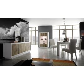 Vitrine 2 portes  SKY structure en laqué Blanc mat facade bois naturel