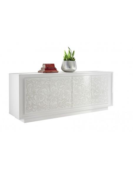 Buffet 4 portes SKY structure laqué  blanc mat facade sérigrphiée florale