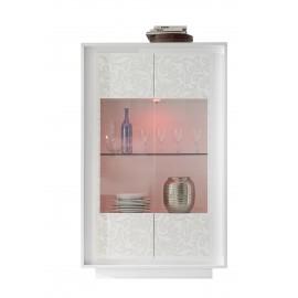 Vitrine 2 portes  SKY structure en laqué Blanc mat facade sérigraphiée