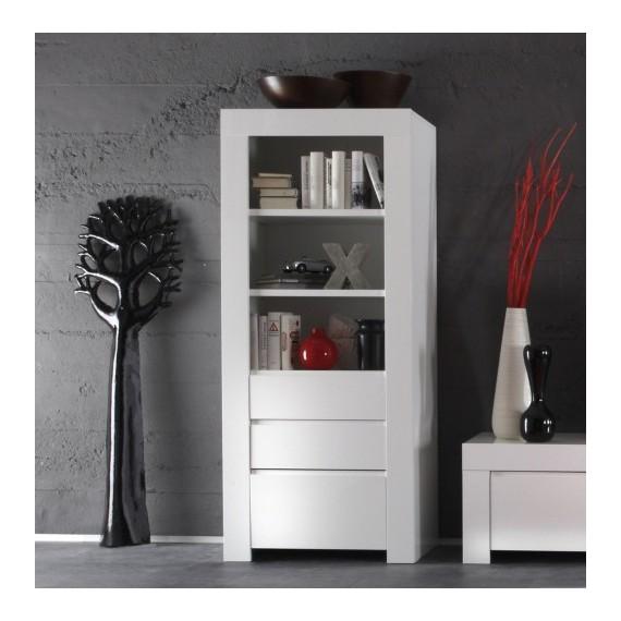 Colonne de rangement Laqu blanc brillant  tiroirs  porte  Amalfi