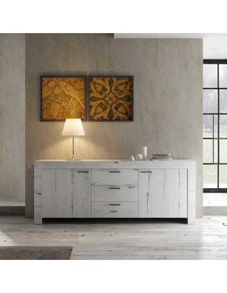 Meuble  2 portes 3 tiroirs LAND chêne blanchi
