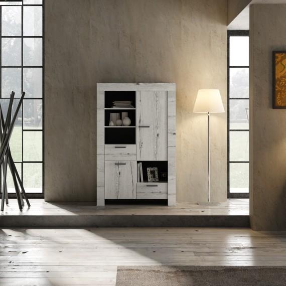 Meuble bar 2 portes 2 tiroirs  LAND chêne blanchi