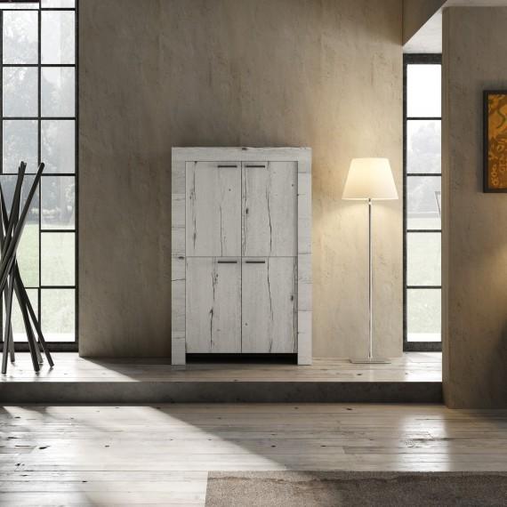 Meuble bar 4 portes LAND chêne blanchi