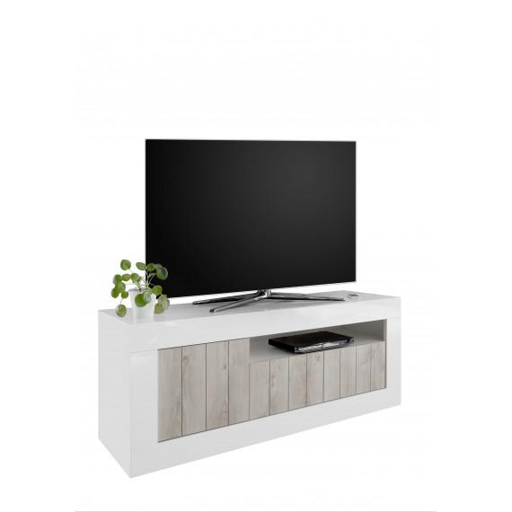 Meuble TV 3 portes URBINO laque et bois