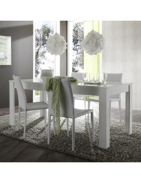 Table de repas laqu Blanc Brillant  Amalfi