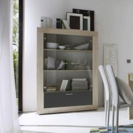 Argentier portes vitres et tiroir bicolor Rustica