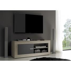 Meuble TV  porte et espace de rangement bicolor  Rustica