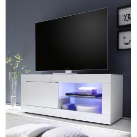 Meuble TV  portes et espace de rangement blanc  Basic