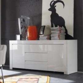 Buffet  portes  tiroirs Laqu Blanc Amalfi